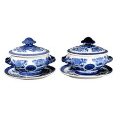 Chinese Export Porcelain Blue Fitzhugh Sauce Tureens, Covers & Stands circa 1780