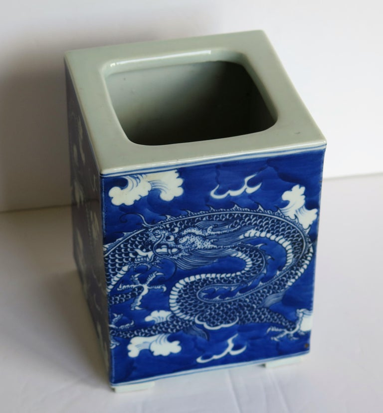 Chinese Export Porcelain Brush Pot Blue and White Hand Painted Dragons For Sale 5