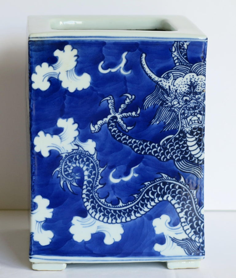 Chinese Export Porcelain Brush Pot Blue and White Hand Painted Dragons For Sale 8