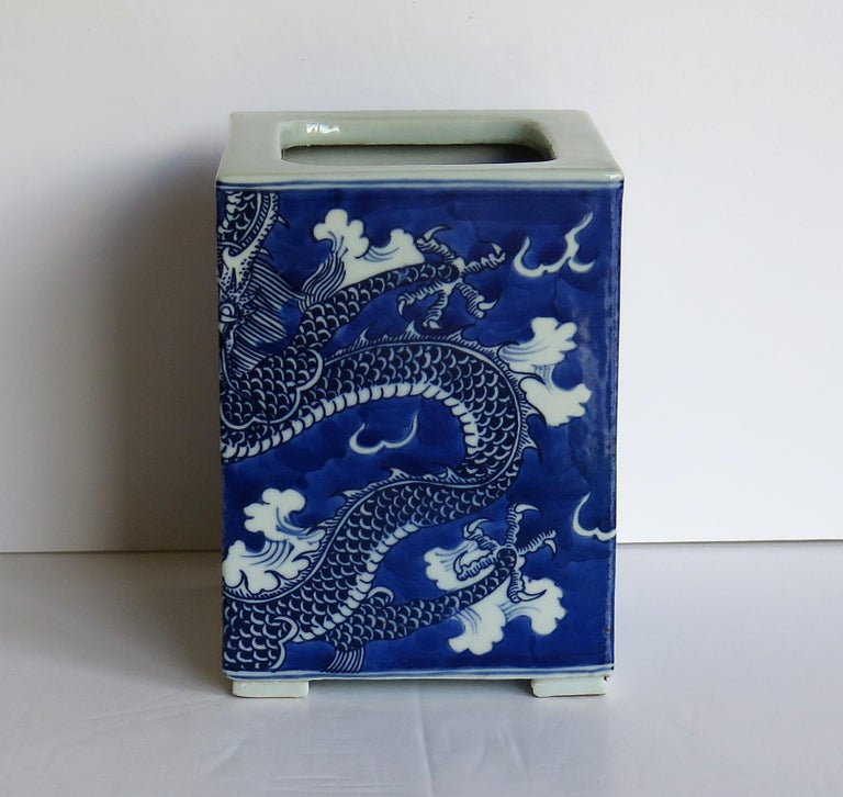 Hand-Painted Chinese Export Porcelain Brush Pot Blue and White Hand Painted Dragons For Sale