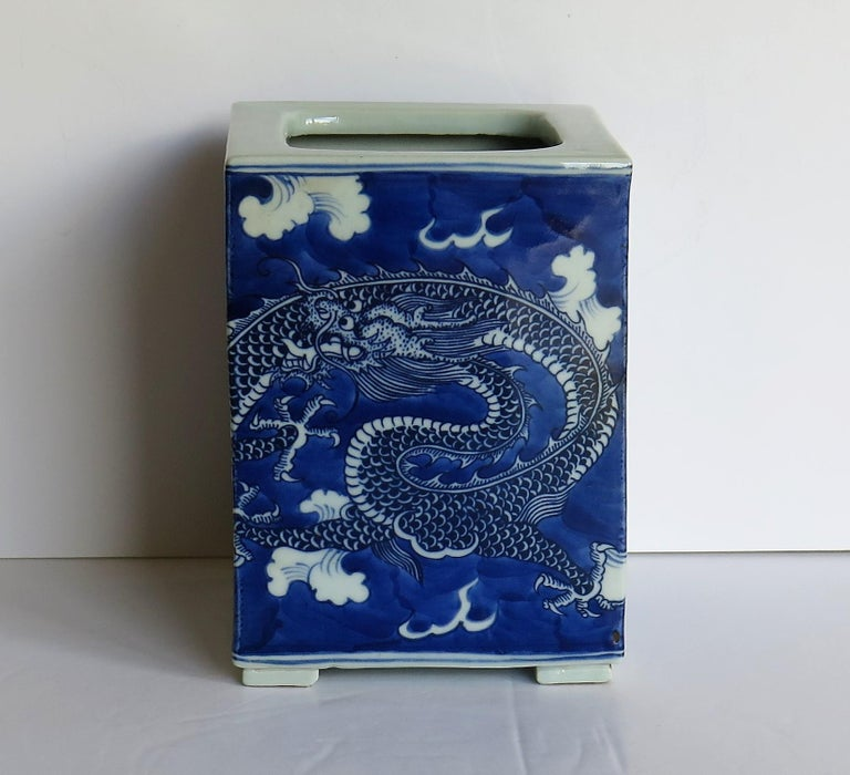 20th Century Chinese Export Porcelain Brush Pot Blue and White Hand Painted Dragons For Sale
