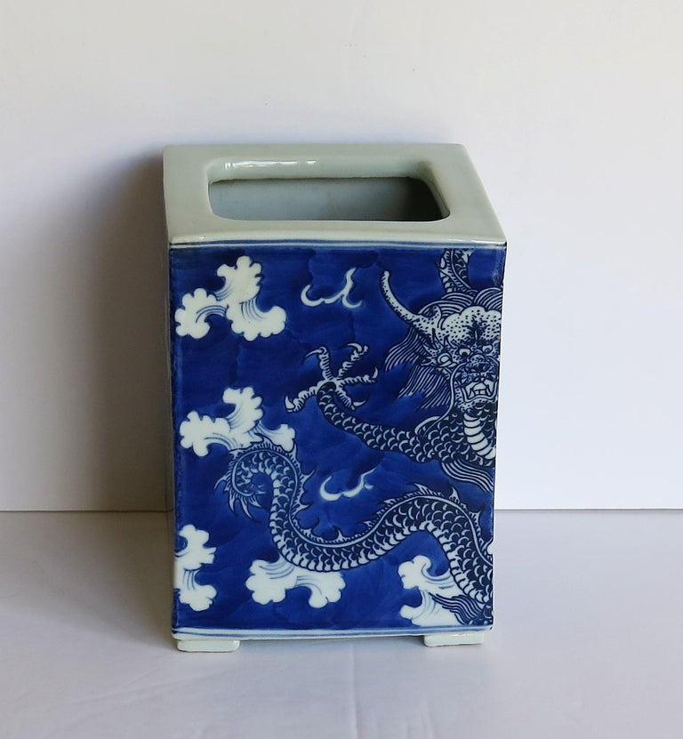 Chinese Export Porcelain Brush Pot Blue and White Hand Painted Dragons For Sale 1