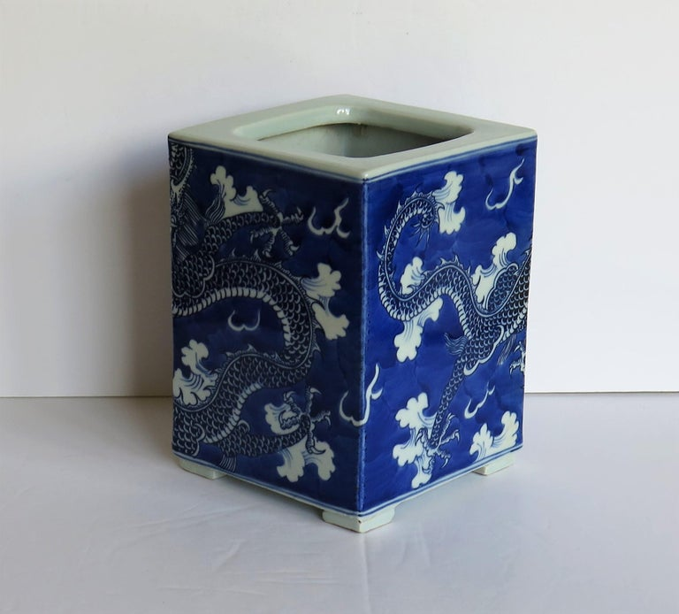 Chinese Export Porcelain Brush Pot Blue and White Hand Painted Dragons For Sale 2