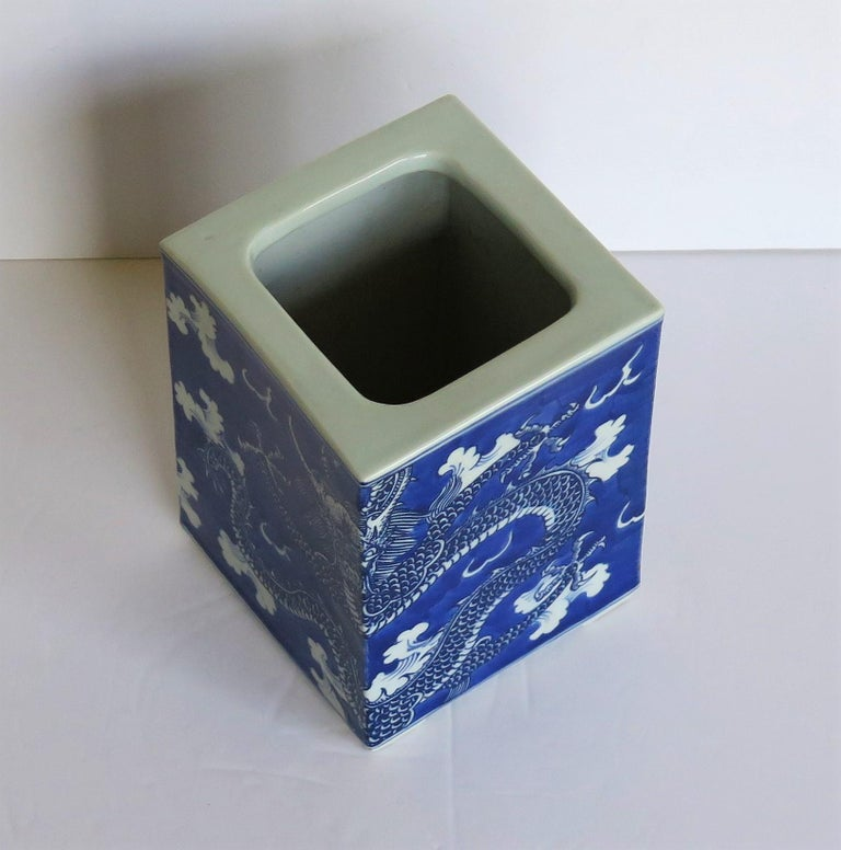 Chinese Export Porcelain Brush Pot Blue and White Hand Painted Dragons For Sale 3