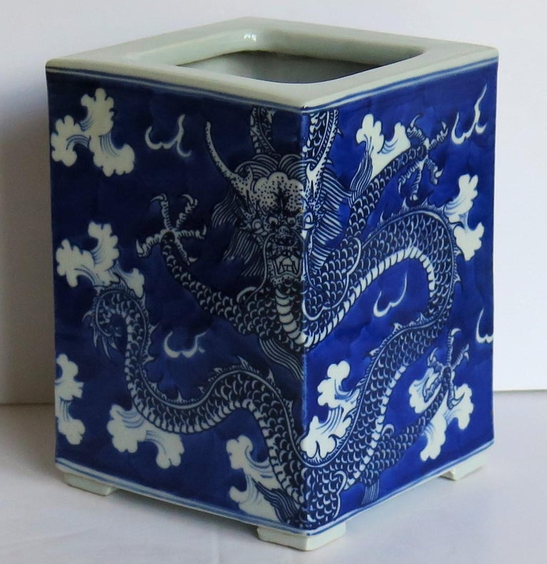 Chinese Export Porcelain Brush Pot Blue and White Hand Painted Dragons For Sale 4