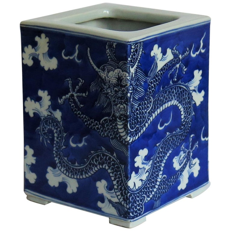 Chinese Export Porcelain Brush Pot Blue and White Hand Painted Dragons For Sale