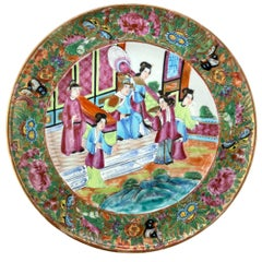 Chinese Export Porcelain Canton Famille Rose Plate, Emperor and Court, ca. 1820