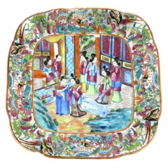 Chinese Export Porcelain Canton Famille Rose Square Dish, ca. 1820.