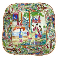 Chinese Export Porcelain Canton Famille Rose Square Dish, ca. 1820