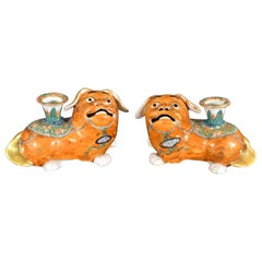 Chinese Export Porcelain Canton Pair of Foo Dog Candlesticks, circa 1840-1860