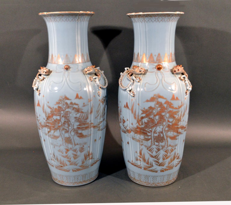 Chinese Export Porcelain Clare De Lune Blue Vases, Mid-19th Century In Good Condition For Sale In Downingtown, PA