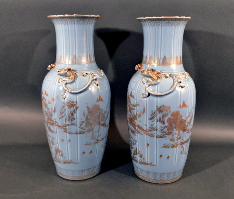Chinese Export Porcelain Clare De Lune Blue Vases, Mid-19th Century For Sale 1