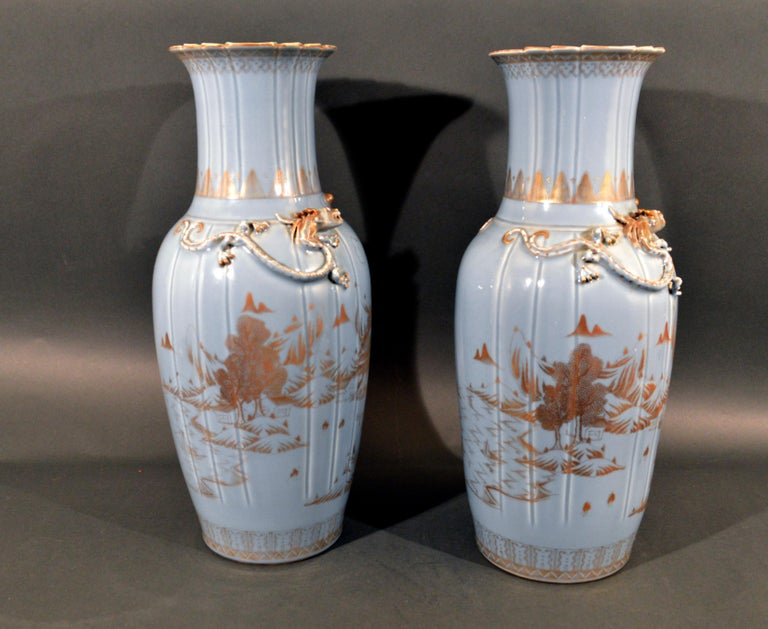 Chinese Export Porcelain Clare De Lune Blue Vases, Mid-19th Century For Sale 2