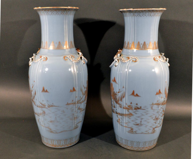 Chinese Export Porcelain Clare De Lune Blue Vases, Mid-19th Century For Sale 3