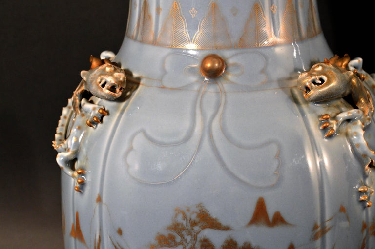 Chinese Export Porcelain Clare De Lune Blue Vases, Mid-19th Century For Sale 6