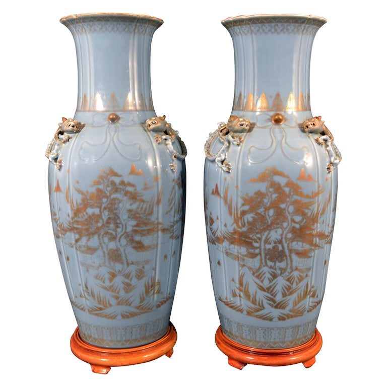 Chinese Export Porcelain Clare De Lune Blue Vases, Mid-19th Century For Sale