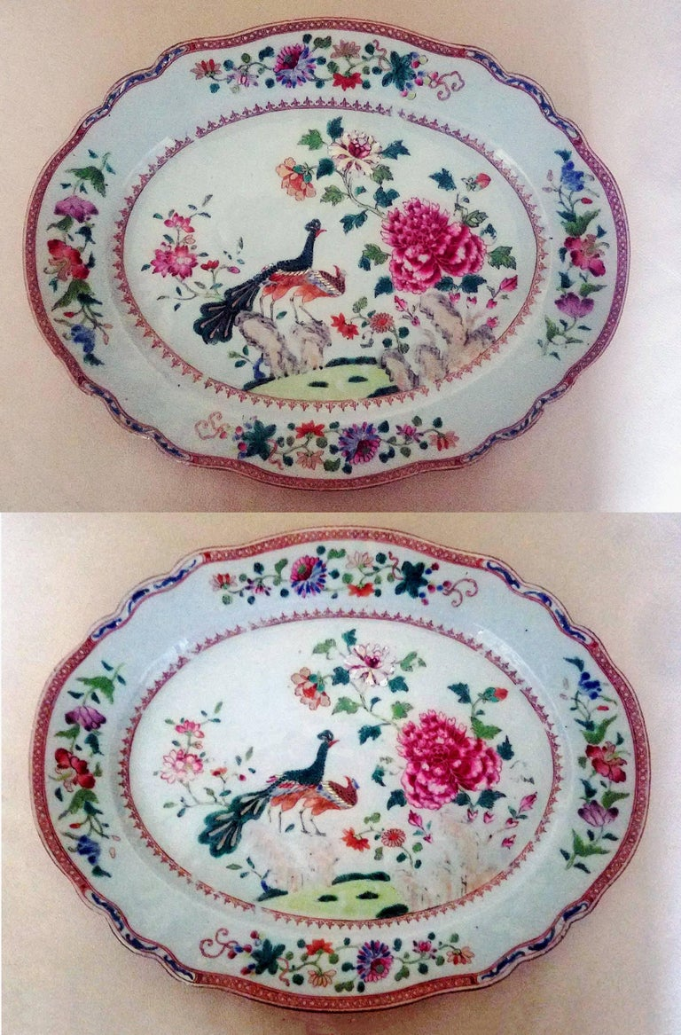 18th Century Chinese Export Porcelain Double Peacock Large Oval Pair of Dishes, circa 1765 For Sale