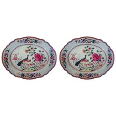 Chinese Export Porcelain Double Peacock Large Oval Pair of Dishes, circa 1765