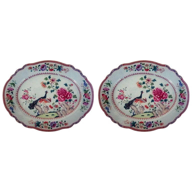 Chinese Export Porcelain Double Peacock Large Oval Pair of Dishes, circa 1765 For Sale