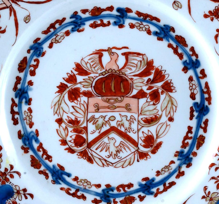 Chinese Export Porcelain Early Armorial Plates, Arms of Van Gellicum, Kangxi For Sale 8