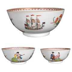 Chinese Export Porcelain European-Subject Punch Bowl- Sailor's Farewell & Return