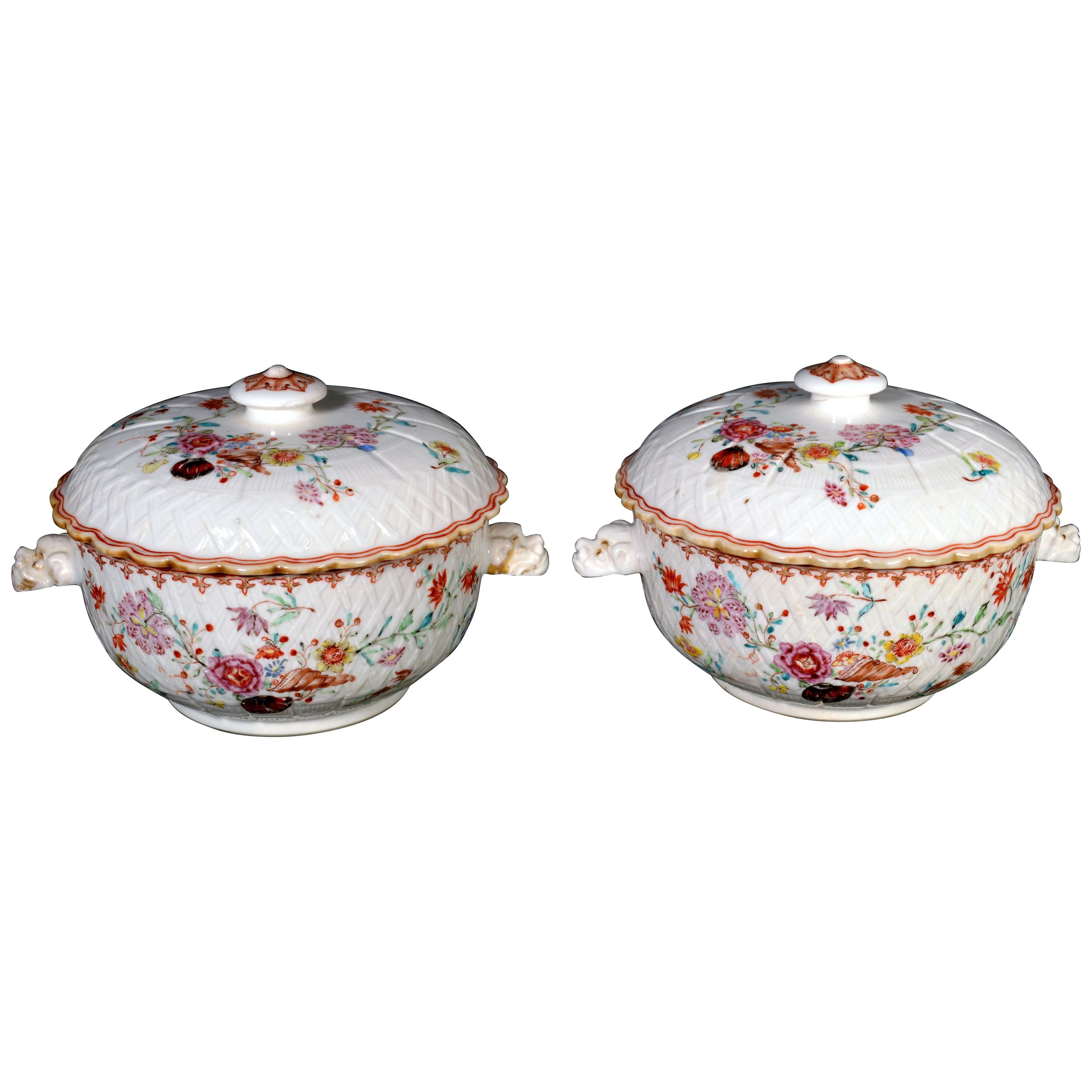 Chinese Export Porcelain Famille Rose Basket Weave-Ground Écuelles and Covers