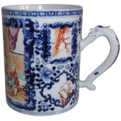 Chinese Export Porcelain Famille Rose Mandarin Blue White Tankard, 18th Century