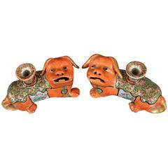 Chinese Export Porcelain Foo Dog Candlesticks, circa 1860