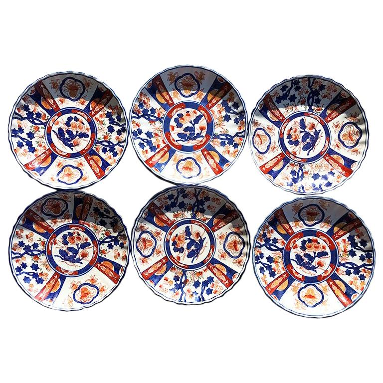 Chinese Imari Porcelain Kangxi Plates set of 6 in blue and orange signed For Sale