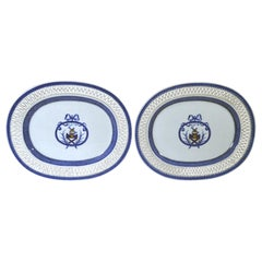 Chinese Export Porcelain Large Armorial Blue & White Openwork Dishes, Bruce Arms