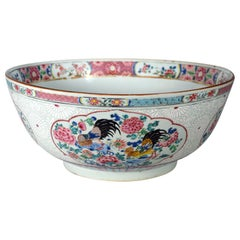 Chinese Export Porcelain Large Famille Rose Punch Bowl, Circa 1765