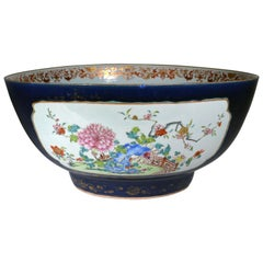 "Chinese Export Porcelain Large ""Famille Rose"" Punch Bowl with Mazarine Ground"