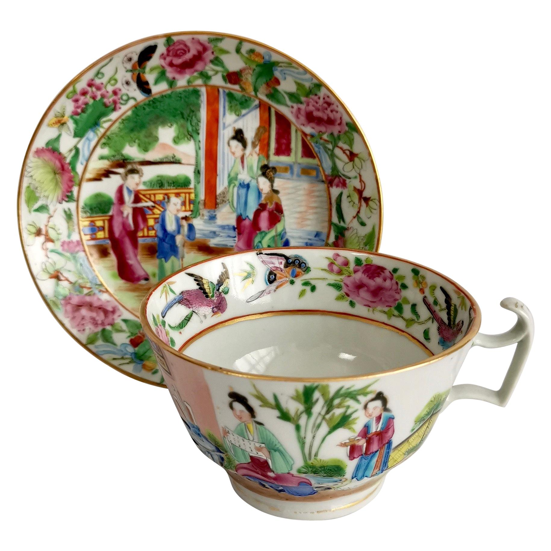 Chinese Export Porcelain Breakfast Teacup, Canton Famille Verte Figures, '1'