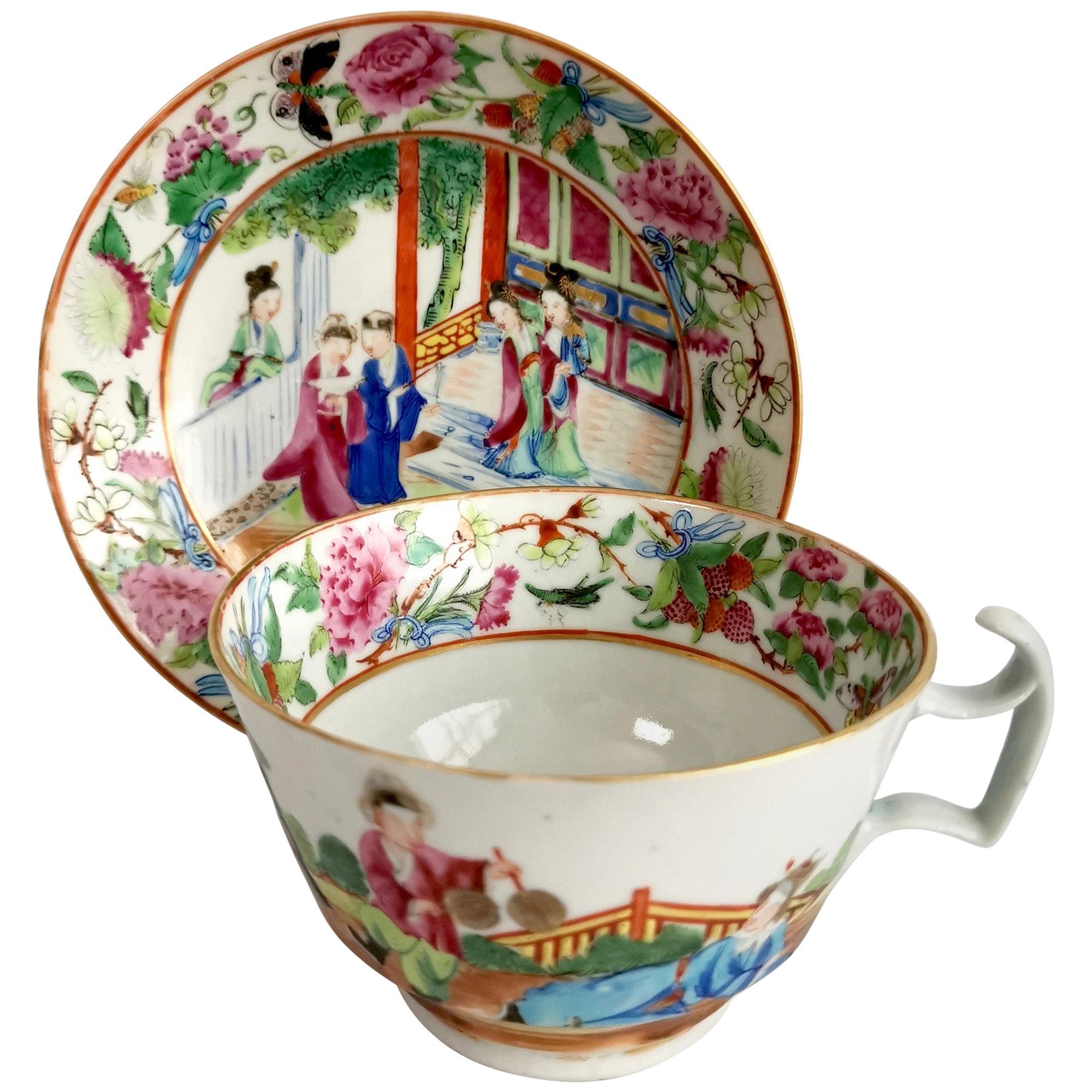 Porcelain Breakfast Teacup, Chinese Export, Canton Famille Verte Figures, '2'