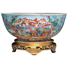 Chinese Export Porcelain Large Turquoise Punch Bowl, circa 1775-1785