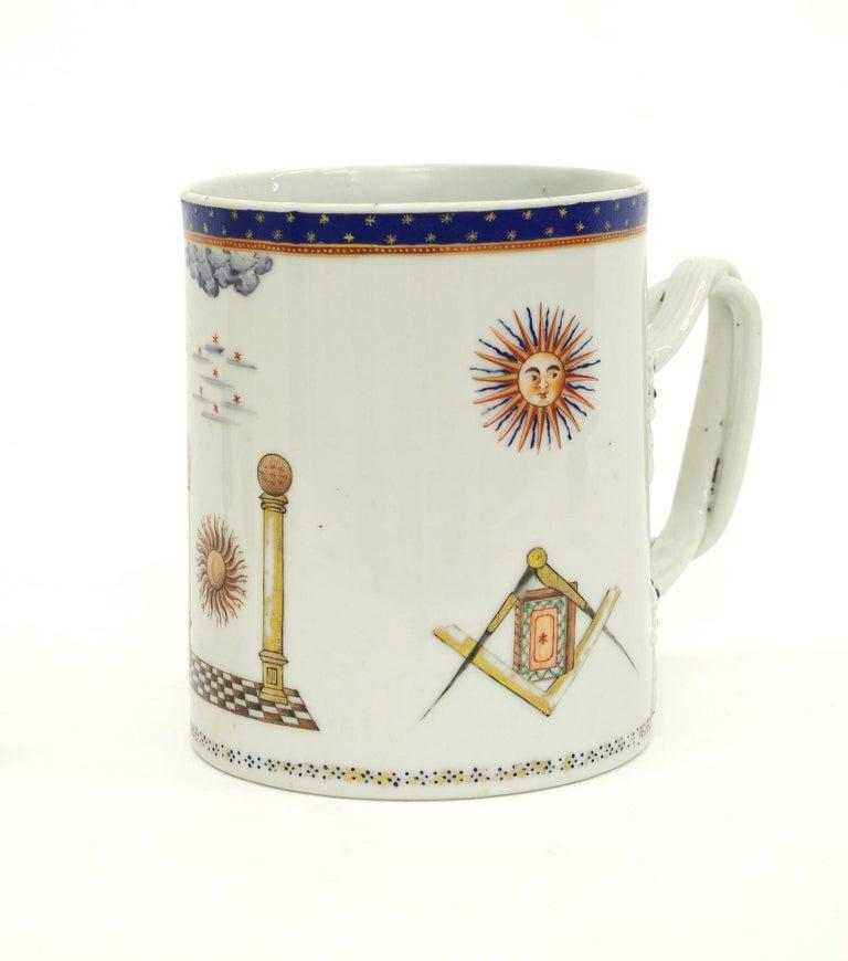 George III Chinese Export Porcelain Masonic Mug, circa 1795 For Sale