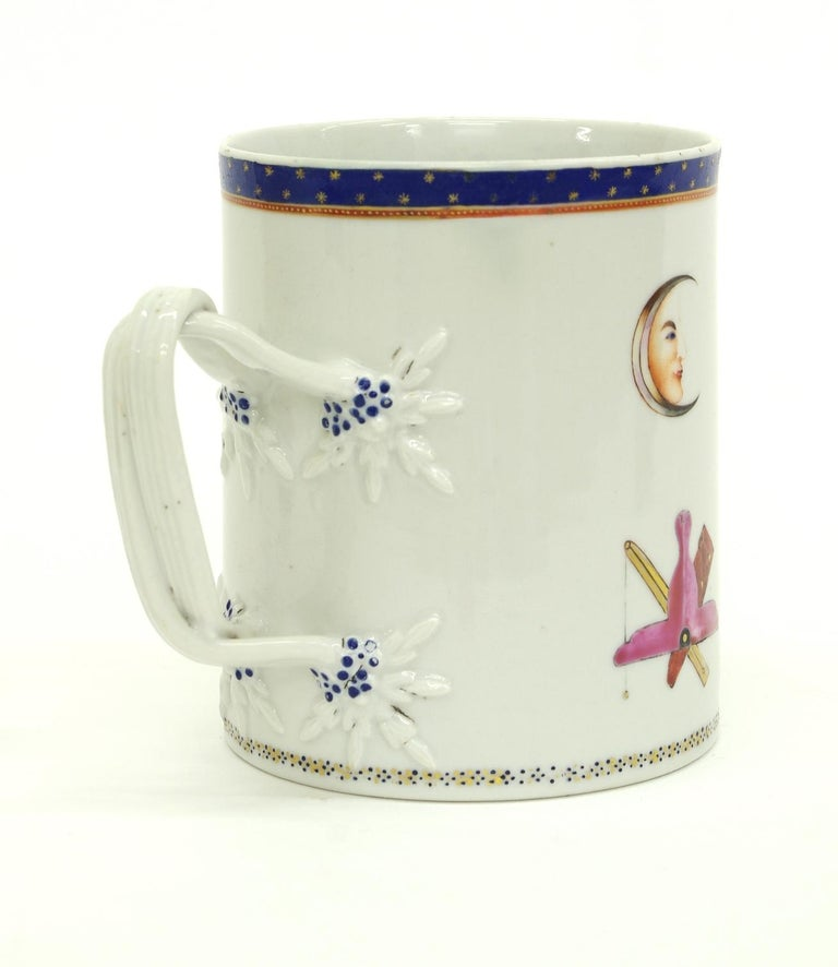 Chinese Export Porcelain Masonic Mug, circa 1795 In Fair Condition For Sale In St. Louis, MO