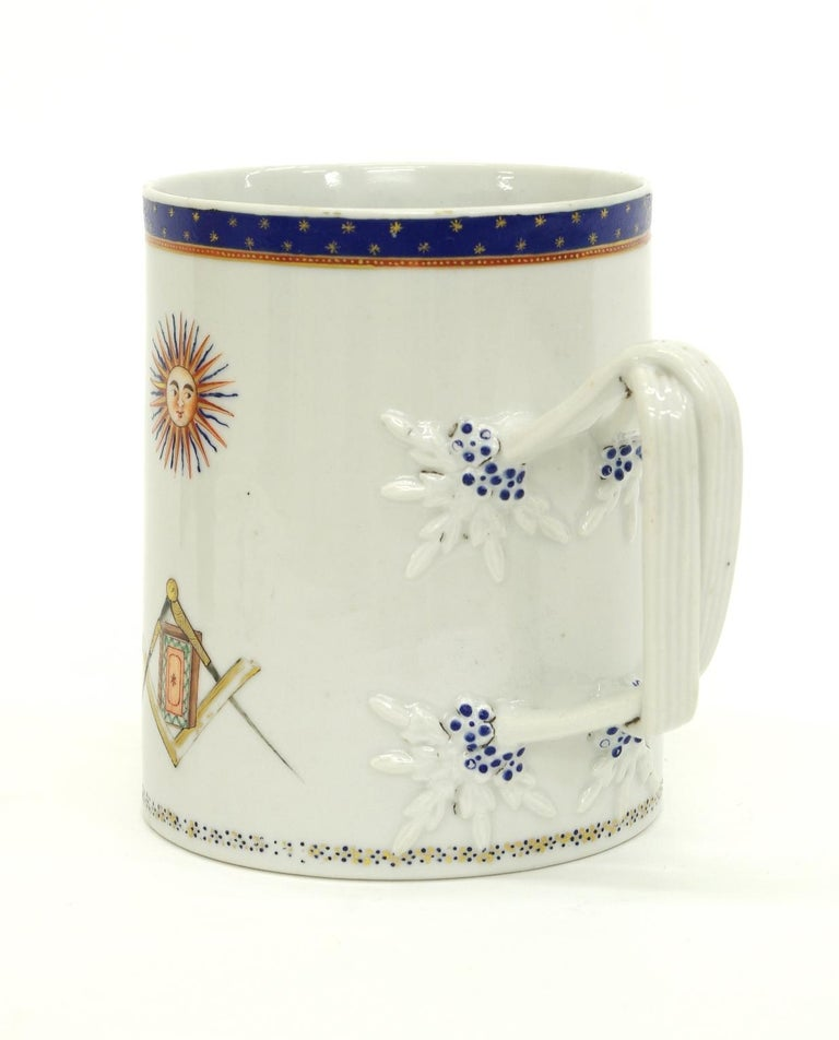 Late 18th Century Chinese Export Porcelain Masonic Mug, circa 1795 For Sale