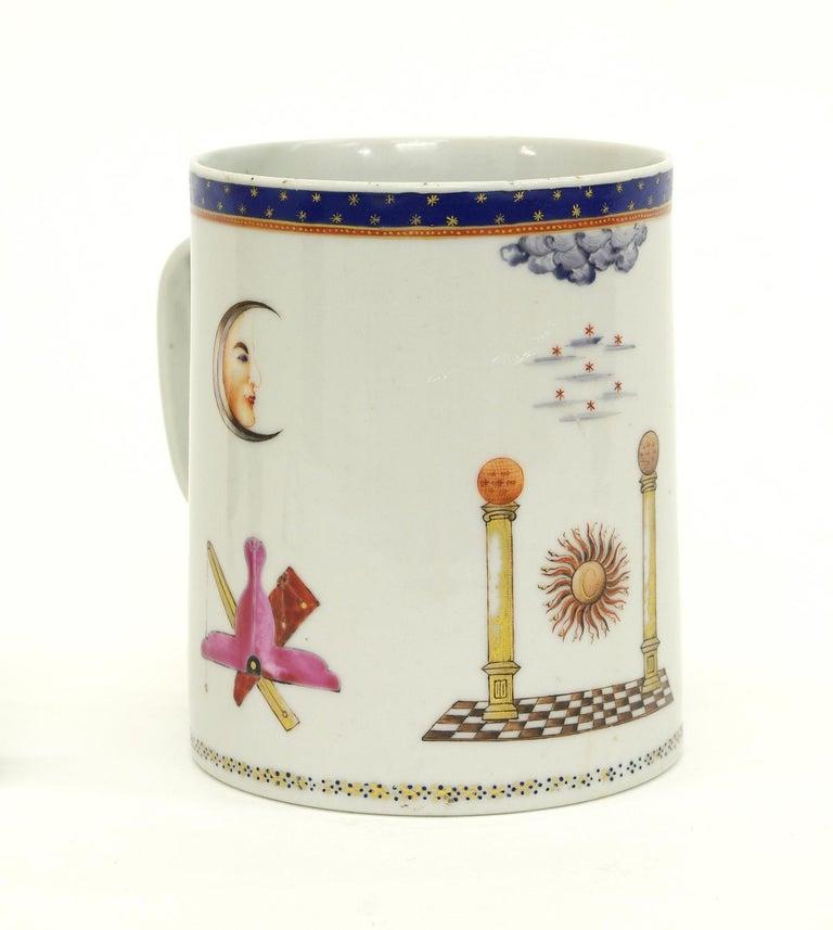 Chinese Export Porcelain Masonic Mug, circa 1795 For Sale 3