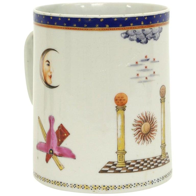 Chinese Export Porcelain Masonic Mug, circa 1795 For Sale