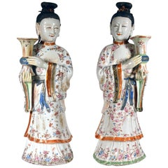 Chinese Export Porcelain Pair of Court Maiden Candlesticks, circa 1760-1775
