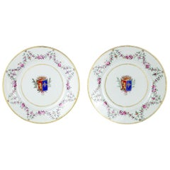 Chinese Export Porcelain Pair of Emblazoned Dishes, Qianlong, '1736-1795'