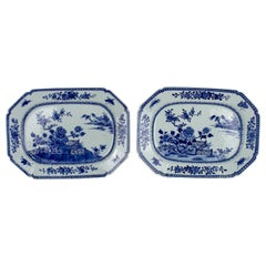 Chinese Export Porcelain Pair of Octogonal Platters, Qianlong