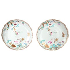 Chinese Export Porcelain Pair of Saucers, Qianlong, 1736-1795