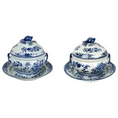 Chinese Export Porcelain Pair of Tureens with Platters, Qianlong