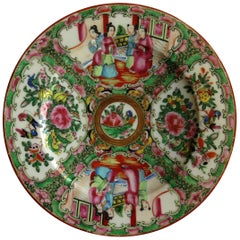Chinese Export Porcelain Plate Rose Medallion Hand Painted, Qing, circa 1870