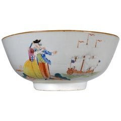 Chinese Export Porcelain Punch Bowl Sailor Farwell & Return with Royal Navy Ship
