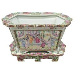 Chinese Export Porcelain Rose Medallion Jardinière Planter Under Plate Tray