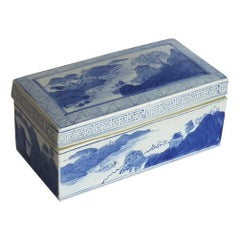 Chinese Export Porcelain Scholar's Lidded Box Blue and White, 20th Century