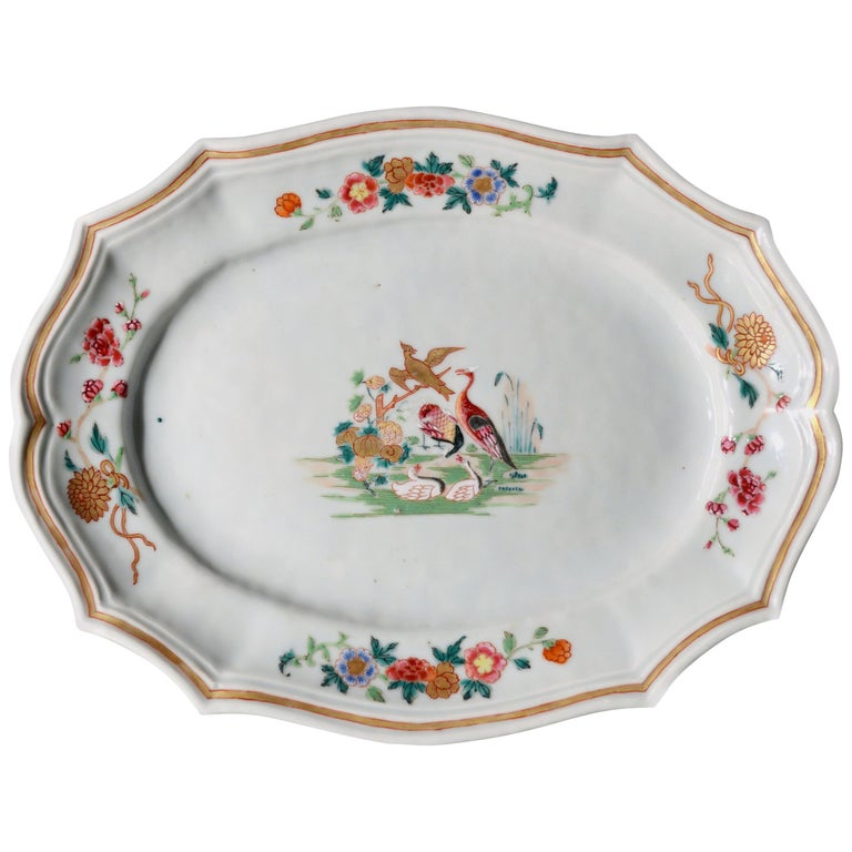 18th Century Chinese Export Porcelain Silver-Form Dish Decorated with Birds, For Sale